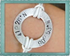 Sterling Coordinate Washer Bracelet